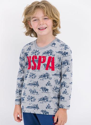 U.S. Polo Assn. Lisanslı Grimelanj Erkek Çocuk Pijama Takımı Gri
